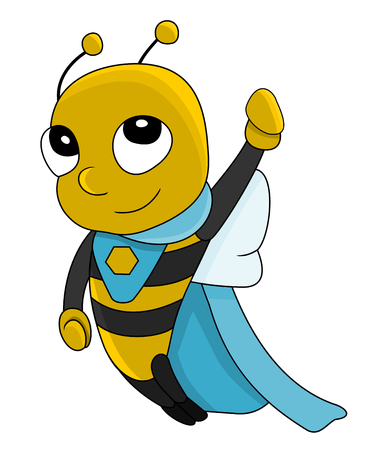 Illustration of cute little super hero bee, isolated on a white backgrond Stock Photo