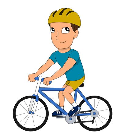 Illustration of an adult man cyclist riding bike, isolated on a white background Stock Photo
