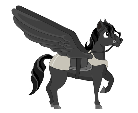 Illustration of a dark winged horse, isolated on a white background