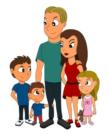 Illustration of a family of five members, father, mother, two sons and a daughter with a teddy bear, isolated on a white background Stock Photo