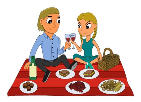 Illustration of a young man and woman in love having a picnic, sitting and drinking red wine, isolated on a white background