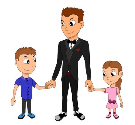 Illustration of a family in formal clothes, father, son and daughter holding hands, isolated on a white background Stock Photo