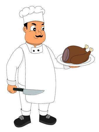 Illustration of a chef holding a plate with a turkey, isolated on a white background