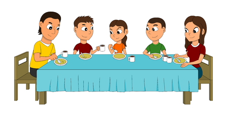 Illustration of a five members family dinning at the dinner table, eating soup, isolated on white background Stock Photo