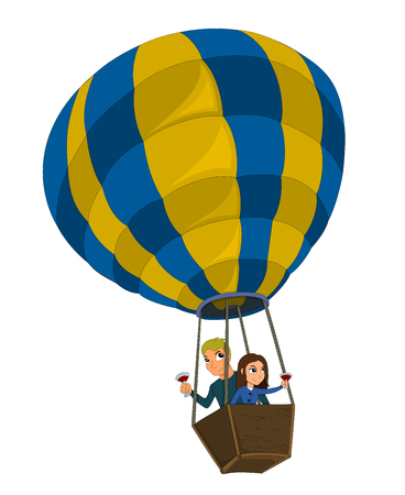 Young couple on a date, flying in a balloon and drinking wine, hot air ballooning illustration isolated on a white background Stock Photo