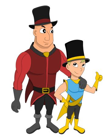 Illustration of a young magician and his assistant with a top hat, isolated on a white background