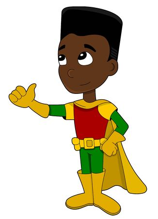 Illustration of cute little African American boy in yellow, green and red costume and cape giving a thumbs up, isolated on white background