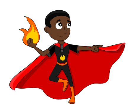Illustration of cute African American superhero boy with fire-based powers, wearing black costume and red cape, isolated on white background Stock Photo