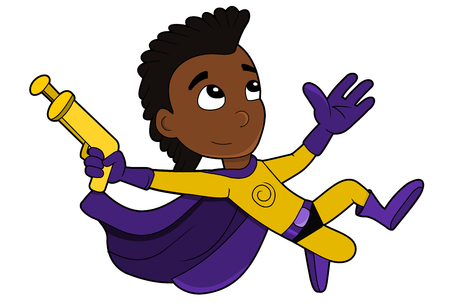 Illustration of jumping African American superhero boy with a gun, wearing yellow and purple costume and cape, isolated on a white background Stock Photo