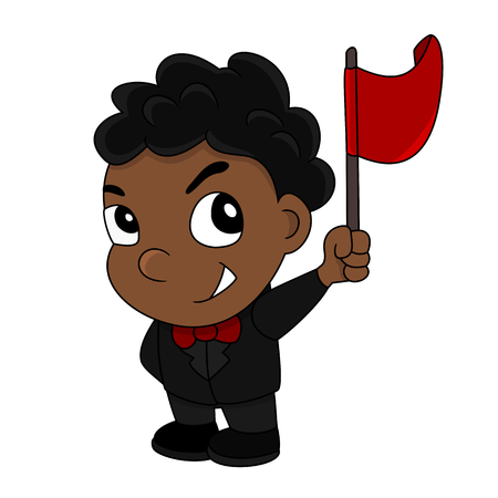 Illustration of a cute smiling African American boy wearing a suit and bowtie and holding a flag, isolated on a white background Stock Photo