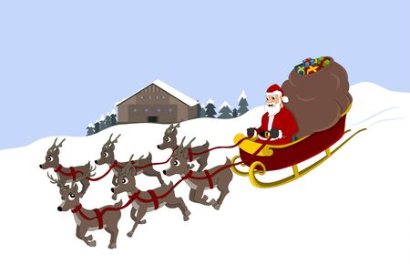 Illustration of Santa Claus in his sleigh with six reindeer, with winter landscape in the background