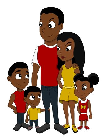 Illustration of African American family of five members, father, mother, two sons and a daughter with a teddy bear, isolated on a white background Stock Photo