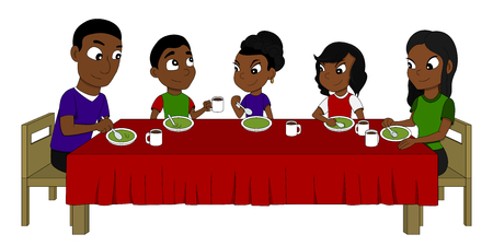 Illustration Of African American Family Five Members Dining Stock Photo Picture And Royalty Free Image 72964334