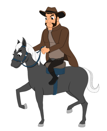 Illustration of a young cowboy riding a horse, isolated on a white background Stock Photo