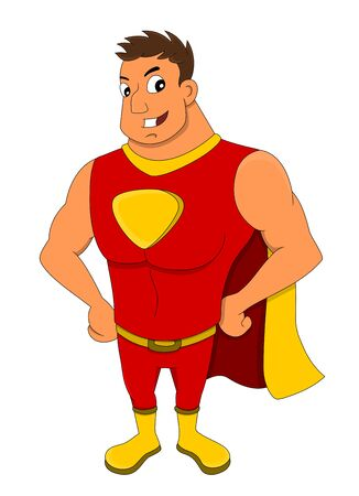 Illustration of young smiling super hero in red and yellow costume and cape, isolated on a white background Stock Photo