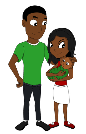 Illustration of young African American family of three members, father, mother a newborn baby, isolated on a white background