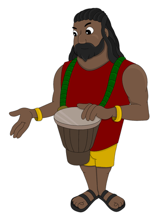 Illustration of a rastaman playing his djembe drum, isolated on a white background Stock Photo