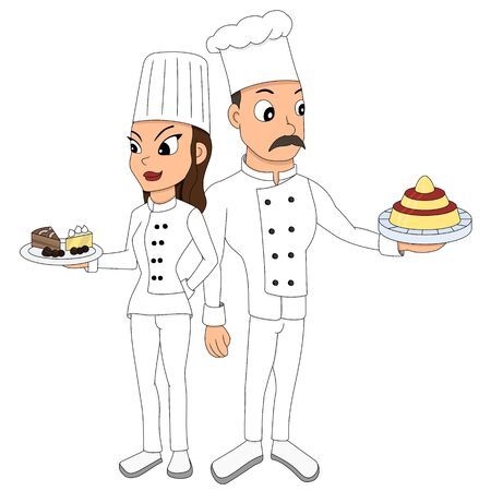 Illustration of male and female chef posing together and holding desserts, isolated on a white background Stock Photo