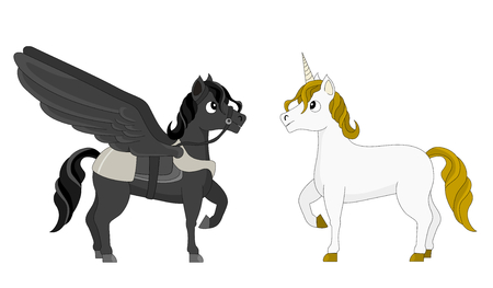 Illustration of two mythical horses, a black pagasus with wings, and white unicorn with a horn, isolated on a white background