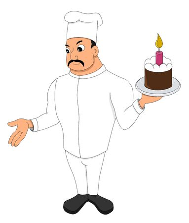 Illustration of a chef or a baker holding a plate with a cake, isolated on a white background