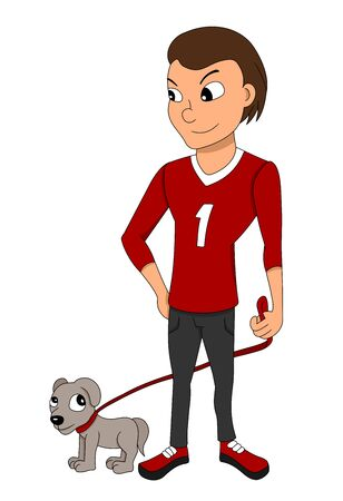 Illustration of a teenage boy walking his puppy on a leash, isolated on a white background
