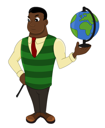 Illustration of a African American geography teacher holding a globe, isolated on a white background Stock Photo