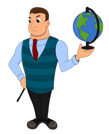 Illustration of a geography teacher holding a globe, isolated on a white background