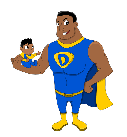 super dad: Illustration of African American superhero dad holding a child, isolated on a white background
