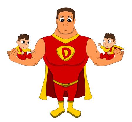 Illustration of superhero dad holding identical twins, isolated on a white background Stock Photo