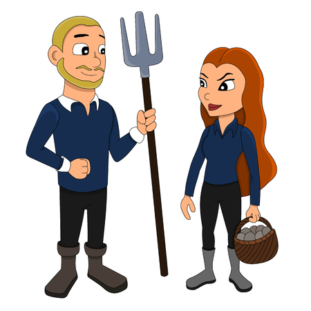 Illustration of a young couple, man is holding a pitchfork, woman is carrying a basket, isolated on a white background Zdjęcie Seryjne