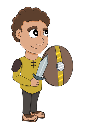 Illustration of a halfling rogue with a dagger and a shield, isolated on a white background