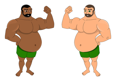 Illustration of two showing off their biceps, isolated on a white background