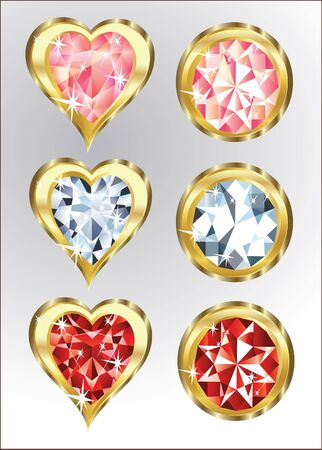 diamonds and hearts isolated Vector
