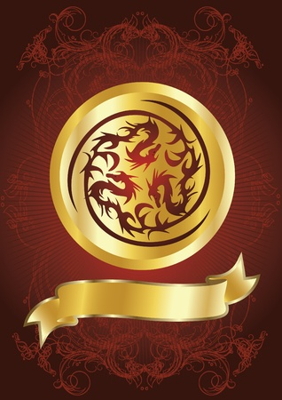 dragons on red background Vector