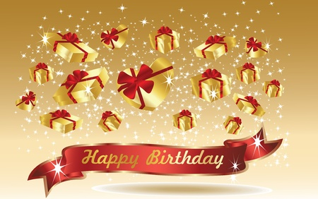 gold birthday card with ribbon Stock Vector - 12519153
