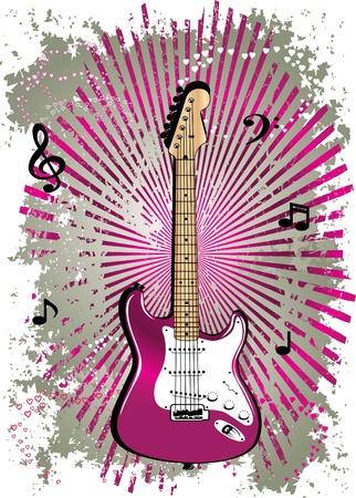 guitare rose Illustration