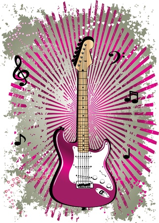 rock guitar: pink guitar Illustration