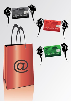 bag for internet shopping with colorful credit cards  Vector