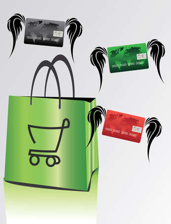 bag for shopping with colorful credit cards  Vector