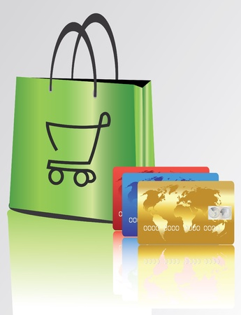 bag for shopping with credit cards  Vector