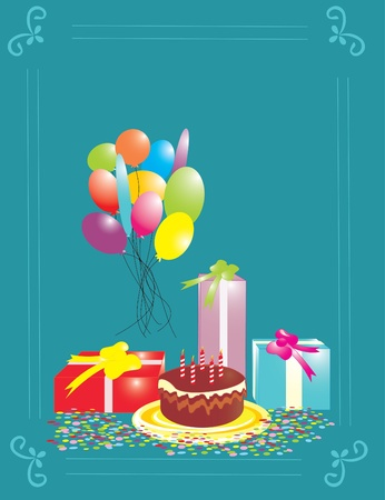blue birthday card Vector