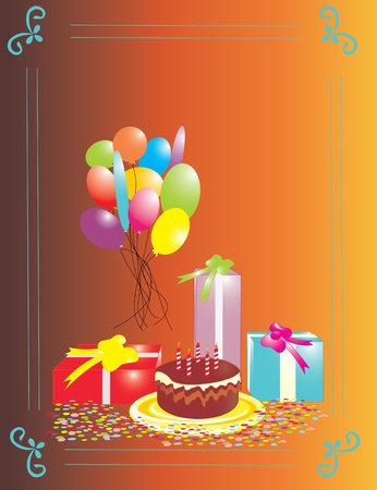card with cake and balloons Vector