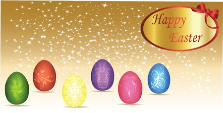 golden religious symbols: card with colorful easter eggs