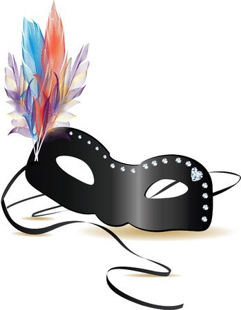 carnival mask with feathers and diamonds