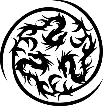 dragon tattoo design: circularly black dragons Illustration