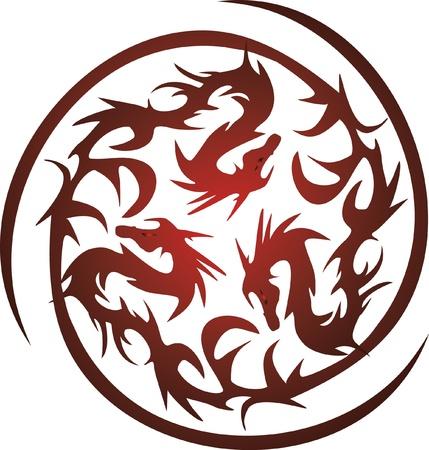 tatouage dragon: circulaire d'orange dragons Illustration