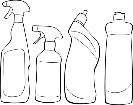 home products: cleaning products outline