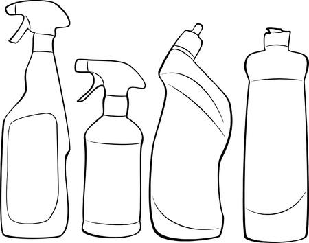 schoonmaakartikelen: reinigingsmiddelen omtrek