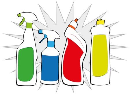 reinigingsmiddelen Vector Illustratie