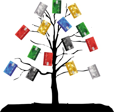 colorful credit cards tree isolated Vector